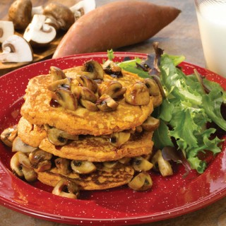 Sweet Potato Pancakes with Balsamic Maple Mushrooms