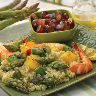 Grilled Asparag us and Shrimp Quinoa Salad with Lemon Vinaigrette Recipe
